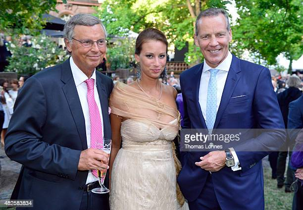Wolfgang Bosbach his dauther Caroline and Henry Maske attend the opening night of the Nibelungen festival on July 31 2015 in Worms Germany