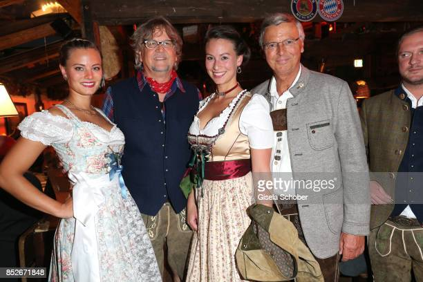 Wolfgang Bosbach with his daughters Caroline and Viktoria Martin Krug during the Oktoberfest at Theresienwiese on September 23 2017 in Munich Germany