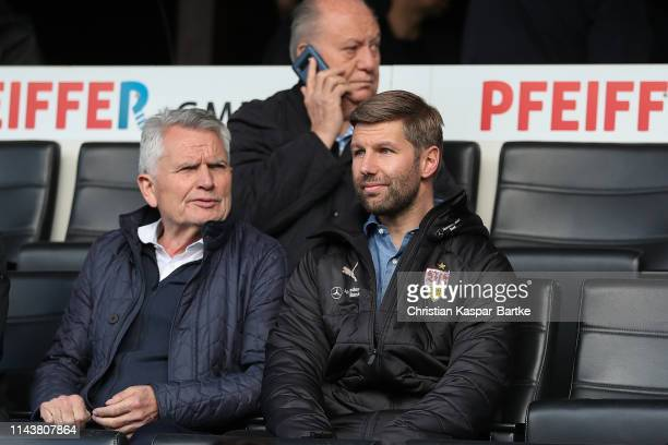 Wolfgang Dittrich VfB President of VfB Stuttgart and Thomas Hitzlsperger Manager of VfB Stuttgart attend the A-Juniors German Championship Semi Final...