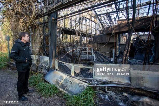 Wolfgang Dressen manager of the Krefeld zoo stands in front of the burnedout monkey house of the zoo in Krefeld western Germany on January 1 2020...