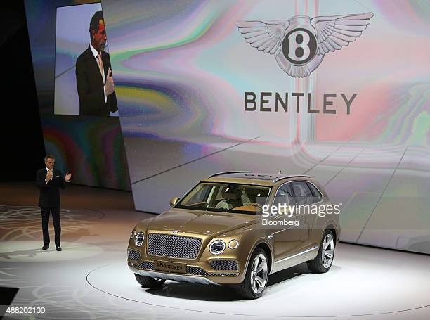 Wolfgang Duerheimer chief executive officer of Bentley Motors Ltd speaks as the Bentley Bentayga SUV automobile produced by Bentley Motors Ltd a...