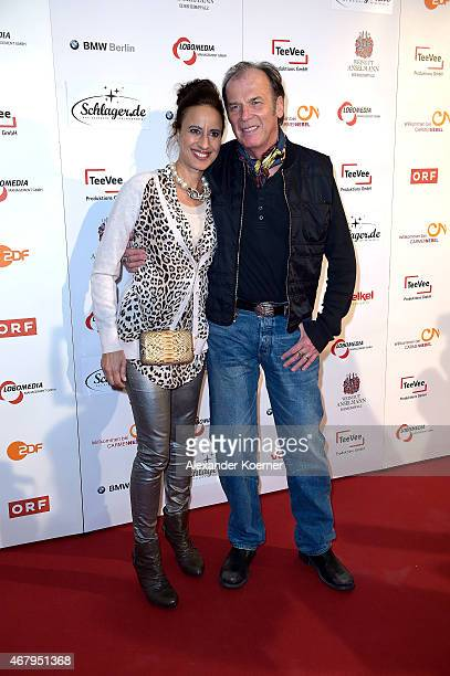 Wolfgang Fierek and Djamila Mendil are seen on the red carpet after the national tv show 'Willkommen bei Carmen Nebel' at TUI Arena on March 28 2015...