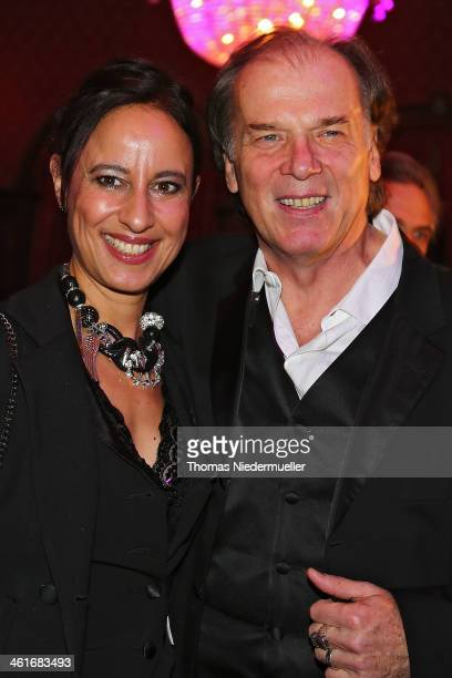 Wolfgang Fierek and Djamila Mendil attend the red carpet of the 50th birthday celebrations for former boxer Henry Maske at Europapark on January 10...