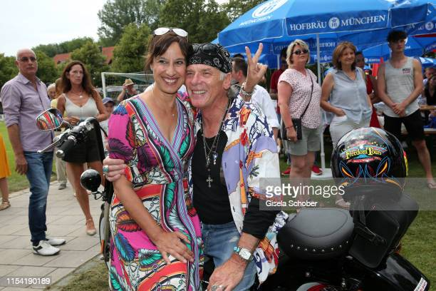 Wolfgang Fierek and his wife Djamila Mendil with his Harley Davidson during the Erich Greipl Tribute Tournament at Erich Greipl Stadion /FC Ismaning...