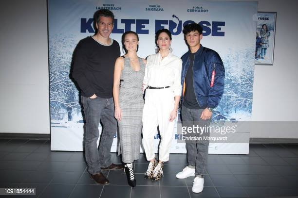 Wolfgang Gross, Sonja Gerhardt, Emilio Sakraya and Jasmin Gerat attend the photo call for the movie 'Kalte Fuesse' at CineStar on January 09, 2019 in...