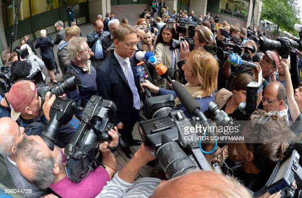 Wolfgang Heer lawyer of defendant Beate Zschaepe addresses the media after the proclamation of sentence in the trial against Beate Zschaepe the only...