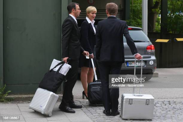 Wolfgang Heer Wolfgang Stahl and Anja Sturm who are the lawyers representing defendant Beate Zschaepe arrive at the Oberlandesgericht arrives at the...
