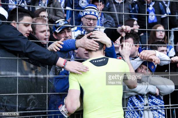 Wolfgang Hesl goal keeper of Bielefeld talks to the fans after the Second Bundesliga match between DSC Arminia Bielefeld and FC Erzgebirge Aue at...