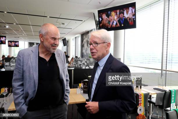Wolfgang Holzhaeuser and Reinhard Rauball talk during the Club Of Former National Players Meeting at BayArena on June 8 2018 in Leverkusen Germany