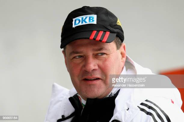 Wolfgang Hoppe head coach of Germany's Women's Bobsleight looks on at the two women's Bobsleigh World Cup event on January 9 2010 in Koenigssee...