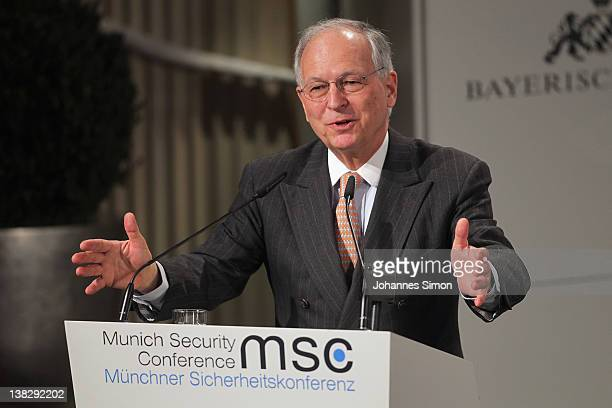 Wolfgang Ischinger chairman of the 48th Munich security conference opens day 3 of the 48th Munich Security Conference at Hotel Bayerischer Hof on...