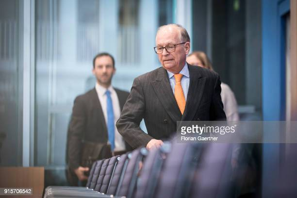 Wolfgang Ischinger Chairman of the Munich Security Conference is pictured before a press conference on February 08 2018 in Berlin Germany