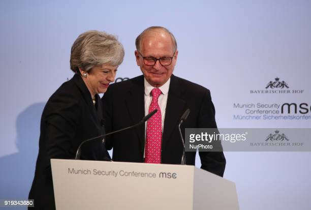 Wolfgang Ischinger welcomes Theresa May on the stage British prime minister Theresa May spoke at the Munich Security Conference