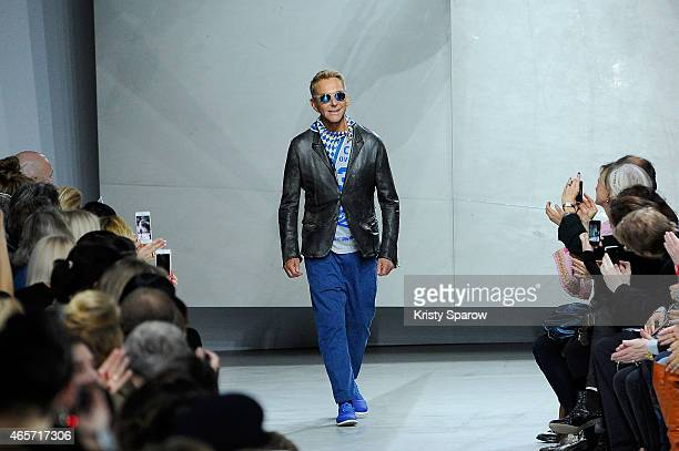 Wolfgang Joop acknowledges the audience during the Wunderkind show as part of Paris Fashion Week Womenswear Fall/Winter 2015/2016 at Palais De Tokyo...