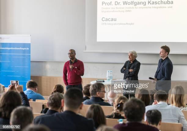 Wolfgang Kaschuba director of BIM and Cacau DFB Integration Ambassador attend the DFB Integration Congress a conference under the slogan ' Angekommen...