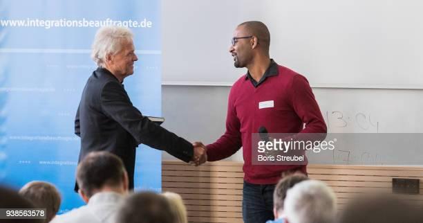 Wolfgang Kaschuba director of BIM welcomes Cacau DFB Integration Ambassador during the DFB Integration Congress a conference under the slogan '...