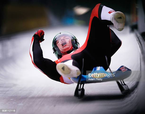 Wolfgang Kindl of Austria celebrates third place in the Men's Luge during Day 2 of the Luge World Championships at Deutsche Post Eisarena Koenigssee...