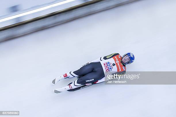 Wolfgang Kindl of Austria competes in the first heat of the Men's Luge competition during the third day of the FILWorld Championships at...