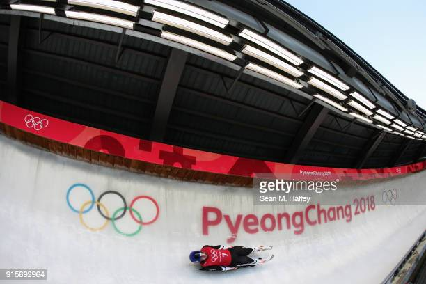 Wolfgang Kindl of Austria slides in a training session for the Men's Luge during previews ahead of the PyeongChang 2018 Winter Olympic Games at the...