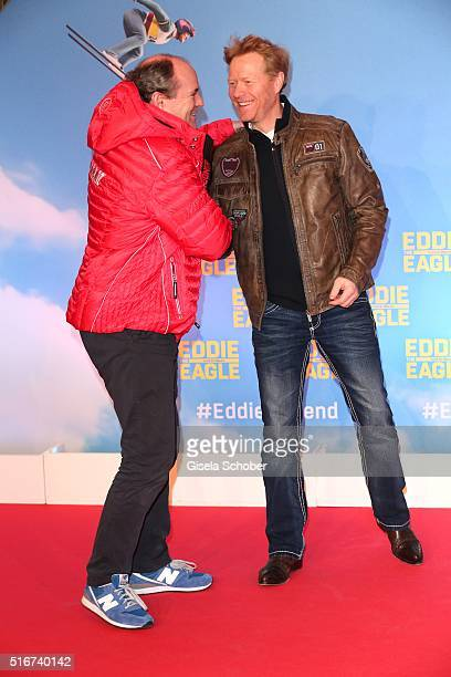 Wolfgang Kons and Dieter Thoma during the 'Eddie the Eagle' premiere at Mathaeser Filmpalast on March 20 2016 in Munich Germany