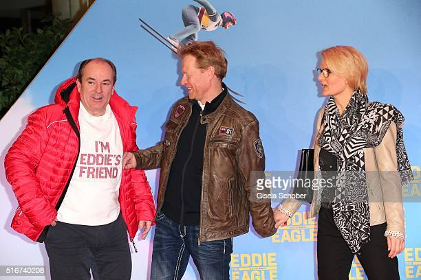 Wolfgang Kons Dieter Thoma and his partner Mandana Daub during the 'Eddie the Eagle' premiere at Mathaeser Filmpalast on March 20 2016 in Munich...