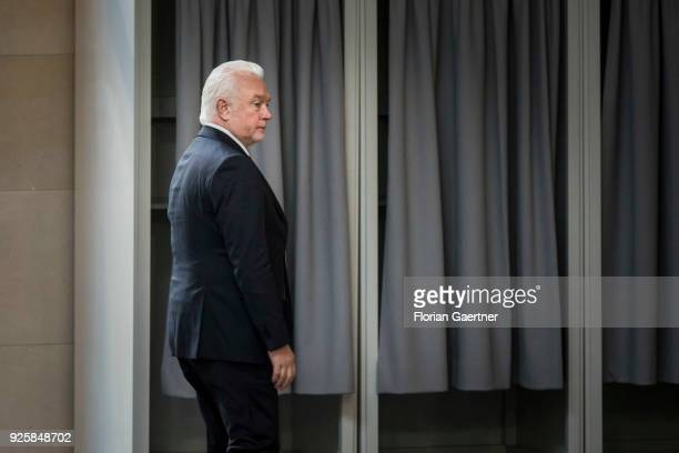 Wolfgang Kubicki VicePresident of the Bundestag leaves the plenary session at the German Bundestag on February 28 2018 in Berlin Germany