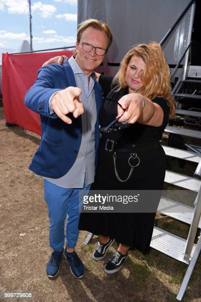 Wolfgang Lippert and Alina Wichmann during the Radio B2 SchlagerHammer OpenAirFestival at Hoppegarten on July 15 2018 in Berlin Germany
