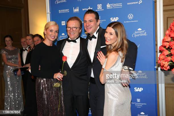 Wolfgang Lippert and his wife Gesine and Sascha Vollmer, Boss Hoss and his wife Jennifer Vollmer during the 15th Semper Opera Ball 2020 at Semperoper...