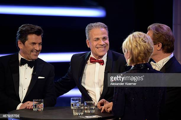 Wolfgang Lippert, Thomas Anders and Karsten Speck perform during the national tv show 'Willkommen bei Carmen Nebel' at TUI Arena on March 28, 2015 in...
