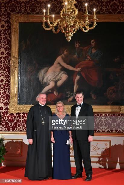 Wolfgang Maria Hagl, Abt der Benediktinerabtei Metten, Bavarian Prime Minister Dr. Markus Soeder and his wife Karin Soeder during the new year...