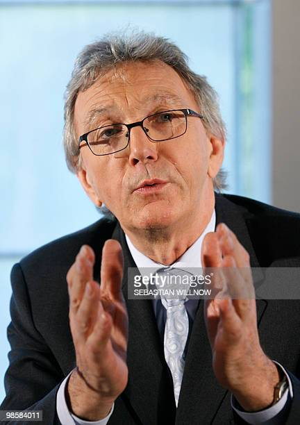 Wolfgang Mayrhuber, CEO of German airline Lufthansa addresses a press conference along with Giovanni Bisignani, the head of the International Air...