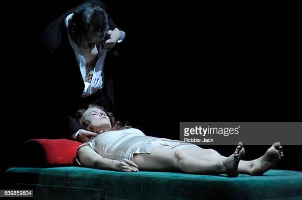 Wolfgang Michael as Nosferatu and Sandra Korzeniak as Lucy in TR Warszawa's production of Nosferatu directed by Grzegorz Jarzyna at the Barbican in...