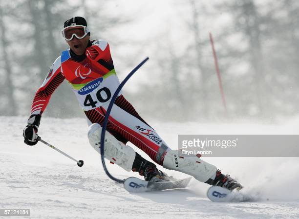Wolfgang Moosbrugger of Austria in action in the Men's Standing Slalom during day eight of the 2006 Paralympic Winter Games on March 18 2006 in...