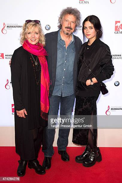 Wolfgang Niedecken, his wife Tina Golemiewski and his daughter Isis attends the GEMA Musikautorenpreis 2015 on May 21, 2015 in Berlin, Germany.