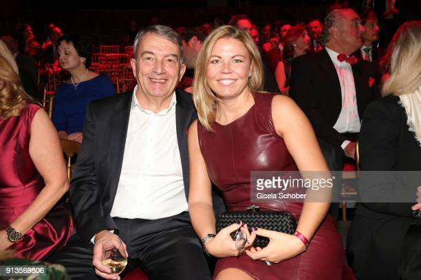 Wolfgang Niersbach and his girlfriend Marion Popp during Michael Kaefer's 60th birthday celebration at Postpalast on February 2 2018 in Munich Germany