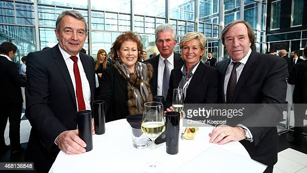 Wolfgang Niersbach DFB President Iris and Jupp Heynckes Silvia Neid national coach of women's German Nationa team and Guenther Netzer pose during the...