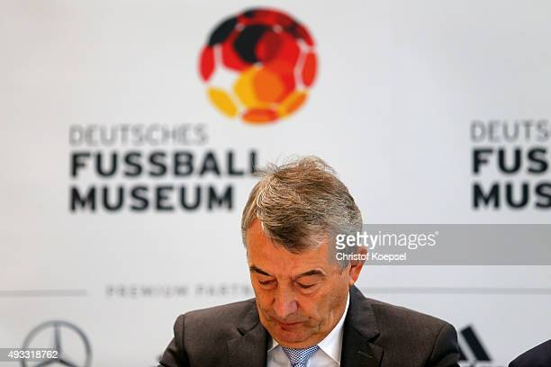 Wolfgang Niersbach DFB president looks thoughtful during the Media Day of the German Football Museum at German Football Museum on October 19 2015 in...