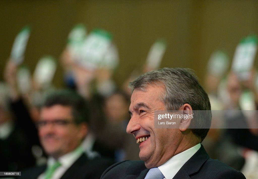 Wolfgang Niersbach is seen during the election of the DFB president during the DFB Bundestag at NCC Nuremberg on October 25, 2013 in Nuremberg, Germany.