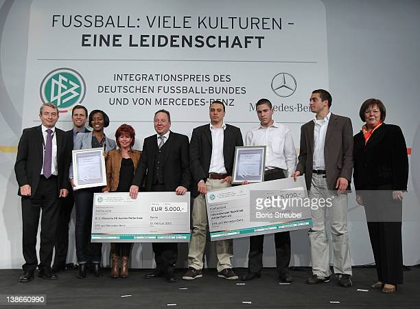 Wolfgang Niersbach Oliver Bierhoff team manager of the German football national team and Ursula Schwarzenbart director Global Diversity Office...