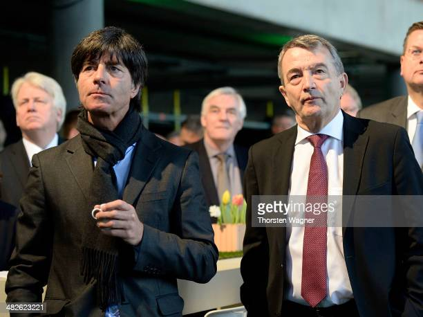 Wolfgang Niersbach president and head coach Joachim Loew of German Football Association looks on during the topping out ceremony of German Football...
