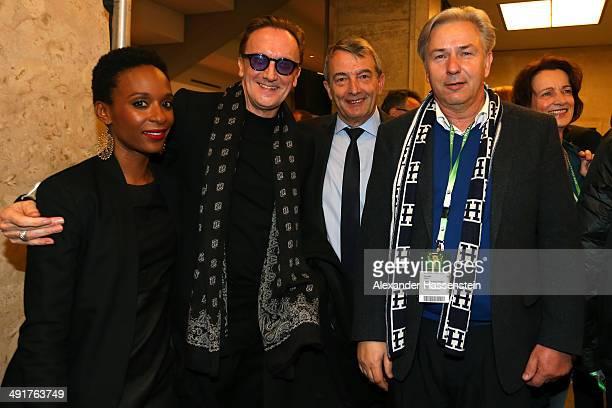 Wolfgang Niersbach President of German Football Association pose with mayor of Berlin Klaus Wowereit Marius MuellerWesternhagen and Lindiwe Suttle...