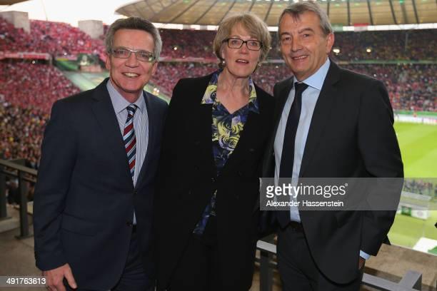Wolfgang Niersbach, President of German Football Association talks to German Interior Minister Thomas de Maiziere and his wife Martina de Maizière...