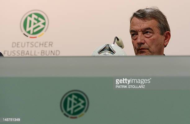 Wolfgang Niersbach President of the German Federation speaks during a press conference at the media center near the Dwor Oliwski hotel in Gdansk on...