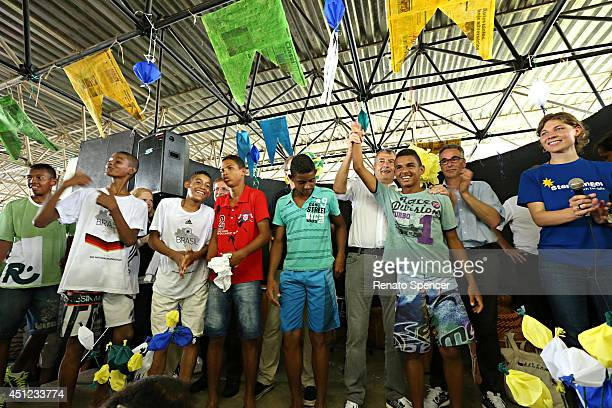 Wolfgang Niersbach, President of the German Football Association arrives for a visit to the SOS-Kinderdorf Igarassu on June 25, 2014 in Recife,...