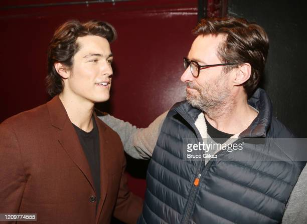 Wolfgang Novogratz and Hugh Jackman chat backstage at the limited engagement play The Atheist at Urban Stages Theatre on March 1 2020 in New York City