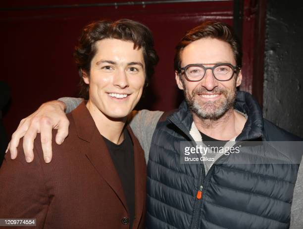 Wolfgang Novogratz and Hugh Jackman pose backstage at the limited engagement play The Atheist at Urban Stages Theatre on March 1 2020 in New York City
