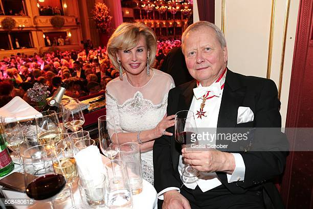 Wolfgang Porsche and his partner Claudia Huebner during the Opera Ball Vienna 2016 at Vienna State Opera on February 4 2016 in Vienna Austria
