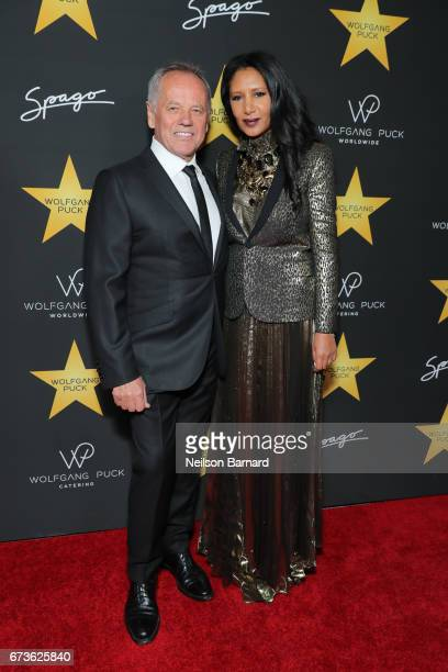 Wolfgang Puck and Gelila Assefa attend the celebratory party in honor of Wolfgang Puck receiving a star on The Hollywood Walk Of Fame hosted by...