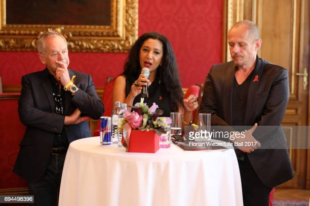 Wolfgang Puck Gelila Puck and Gery Keszler speak at the Life Ball 2017 press conference at Town Hall on June 10 2017 in Vienna Austria The Life Ball...