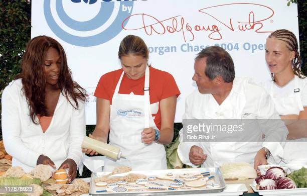 Wolfgang Puck takes center court with tennis aces Serena Williams Nadia Petrova and Svetlana Kuznetsova during announcement of a partnership between...
